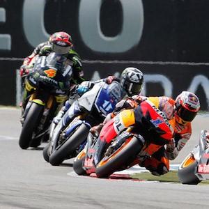 Pilotos do MotoGP em ação