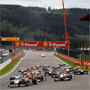 O Grande Prêmio da Bélgica em ação
